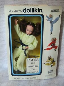 Vintage Action Girl Dollikin Uneeda Doll Brunette Boxed Mint Condition Hong Kong