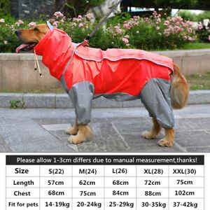 Large Dog Raincoat Clothes Rain Coat Outdoor Clothes Hooded Jacket Waterproof