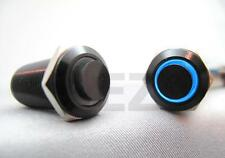 12mm BLUE Led 12V Black Aluminum Metal LATCHING Switch Push On Start Button Diy