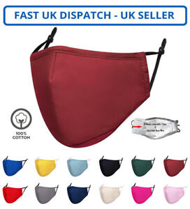 Adult Unisex Cotton Burgandy Face Mask Mouth Protection Cover Washable Reusable