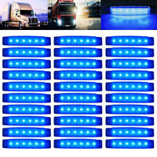 30x 3.8 inch 6LED Side Marker Indicators Lights Blue for Truck Trailer Lorry Bus