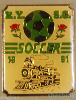 VTG Soccer Ball Sports TRAIN RY SC SOCCER 1991 90's Hat Pin Badge Pinback