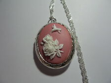 CAMEO LOCKET ROSES WITH A HUMMINGBIRD  PINK AND WHITE