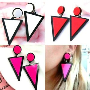 Big Vintage Retro 80s Style Triangle Earrings Red White Or Pink Very Trendy *UK*