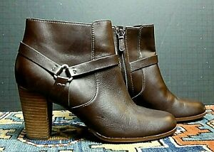 Women's Cole Haan Grand OS Brown Leather Heeled Harness Bootie Sz 9.5B MINT!