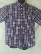 Tommy Hilfiger Mens Red Plaid Short Sleeve Button Down Casual Shirt Size L