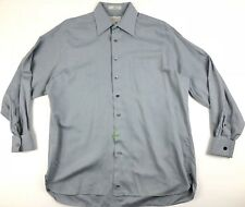 John W Nordstrom Mens Dress Shirt French Cuff Twill Size 16.5 34 Gray Striped