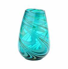 "New 10"" Hand Blown Art Glass Vase Green Swirl Design Decorative"