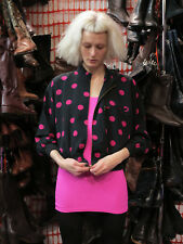 Jacke Blouson tailliert Punkte Schwarz Pink 90er TRUE VINTAGE 90s jacket dots