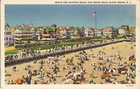 Ocean Grove, NEW JERSEY - Beach & Boardwalk - 1933 - LINEN - old cars, flag