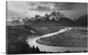 The Tetons Snake River Grand National Park Wyoming Canvas Art Print Ansel Adams