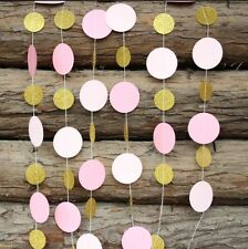 1.5M Pink / Gold Circle Paper Garland / Drop Party Decoration