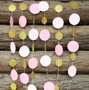 1.5M Pink /Gold Circle Paper Garland / Drop Party Decoration