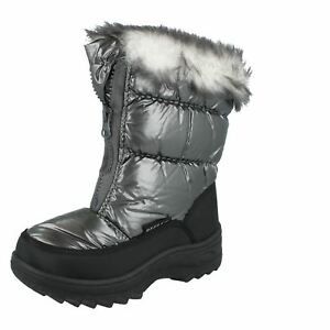 Kids REFLEX pewter faux fur top and lining zip up front  snow boots H4071