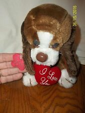"""Russ Berrie Hush Puppy Dog Plush BAXTER Sad Eyes Brown 7"""" Tall With Tag"""