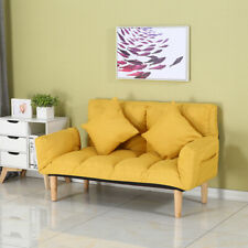 ❀Lazy Folding Sofa With Foldable Armrests With 2 Pillows, Modern Style Wooden