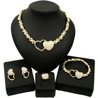 #67 HUGS &KISSES Xo Set Necklace bracelet Earrings Ring Double Hearts