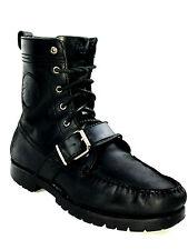 Polo Ralph Lauren Men's Ranger Boots Black Leather Size 7.5 USA.