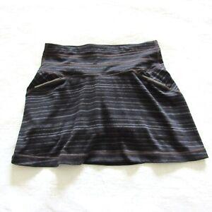 Athleta Skort XXS Black Striped Relay 2 In 1 Skirt Active Golf Tennis Shorts