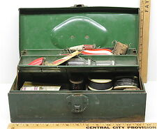 Vintage Fishing Tackle Box Spinners Hooks Lead Weights Scaler Cutting Knife Line