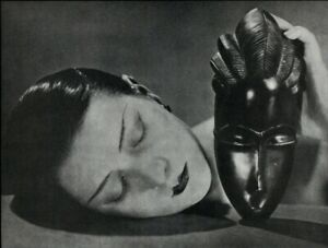 1975 Man Ray Female Model Kiki & African Mask Art Deco Art Photo Gravure 11