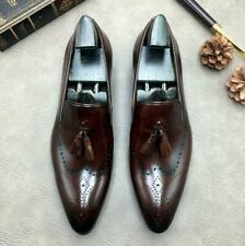 British Men Business Leisure Real Leather Shoes Pointy Toe Carved Slip on Loafer