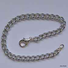 """Charm bracelet blanks 8"""" Silver tone x 12 with lobster clasp. Non tarnish."""