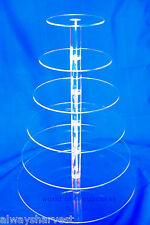 6 Tier Round Cupcake Cup Cake Stand Tower Clear Maypole Acrylic Wedding Party