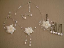 Parure Bijoux couleur Ivoire, p robe de Mariée/Mariage, fleur collier bracelet