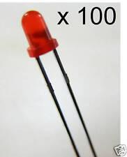 100 x 3mm discreto LED Luci Rosso punteggiato-UK Venditore