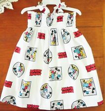 SZ 0 MINNIE & MICKEY MOUSE COTTON SHIRRED TOP DRESS HANDMADE IN AUSTRALIA