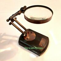 Antique Brass Magnifying Glass Wooden Base Maritime Table Top Gift