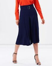 Pantaloni da donna alti blu a gamba larga