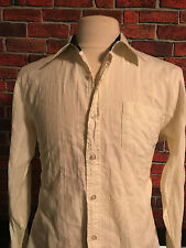 Billabong Mens Button Front Slim Fit Cotton Yellow Long Sleeve Shirt Size Large
