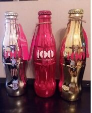 COCA COLA COKE RED GOLD SILVER 100TH ANNIVERSARY OF CONTOUR BOTTLES  ALL 3