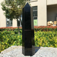 Natural Black Obsidian Obelisk Crystal Column Wand Point Healing Stone