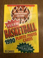 Fleer Basketball 1990 1 Sealed Wax Pack New Clean!! With Michale Jordan on Top