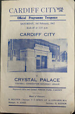 More details for cardiff city reserves v crystal palace reserves 1961/62