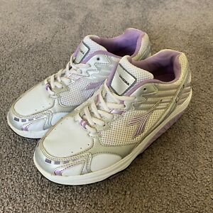 Diadora Womens White Purple Body Firm Lace Up Low Top Running Shoes Size UK 10