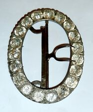 A Georgian Unmarked Silver & Steel Belt Buckle With Diamantes & Movable Prongs