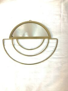 Art Deco Style Small Accent Mirror Gold Tone Metal Wire Retro Half Moon EUC