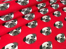 ROSE AND HUBBLE RED PUG DOG PRINT POLY COTTON FABRIC 112cm WIDE PER METRE