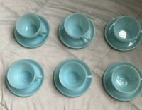 Set of 6 Vintage Fire King Oven Glass Delphite Blue Turquoise Tea Cups & Saucers