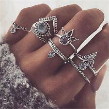 8PCS Vintage Silver Boho Charm Arrow Gemstone Midi Finger Knuckle Ring Jewelry