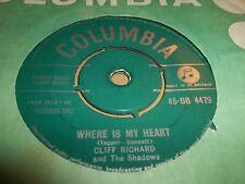 "CLIFF RICHARD "" WHERE IS MY HEART "" 7"" SINGLE COLUMBIA VG 45-DB 4479 (1960)"