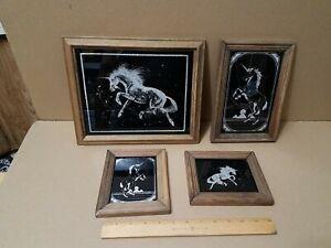 Unicorn lot Carnival Fair Prize Etched Black Glass Glitter Mirror Vintage 1980's
