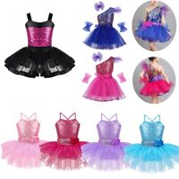 Kids Girls Ballet Dance Dress Costume Sequin Outfit Latin Jazz Modern Tutu Skirt