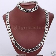 Chunky 24K White Gold Filled Mens Necklace+Bracelet Set Curb chain jewelry sets