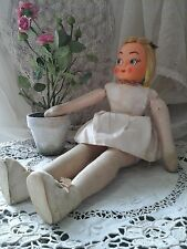 "Rare Collectors Antique German 15"" Bisque Head/Textile Doll ~Jointed Legs~c1800s"