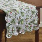 NEW HOLIDAY TABLE RUNNER WOODLAND HOLLY PINE BERRIES Quilted 14